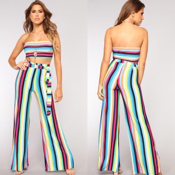 e71a9e4f5551a Fashion Nova Pants | Last Price New Rainbow Set | Poshmark